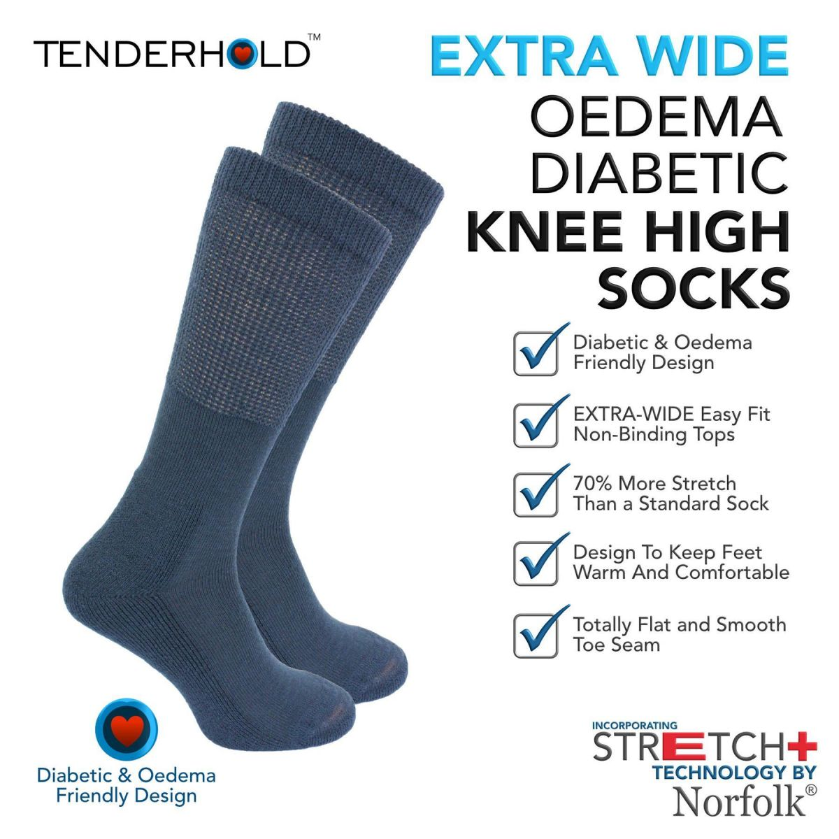 Wool -  Extra Wide Knee High Socks with Stretch+ Technology  - Morgan
