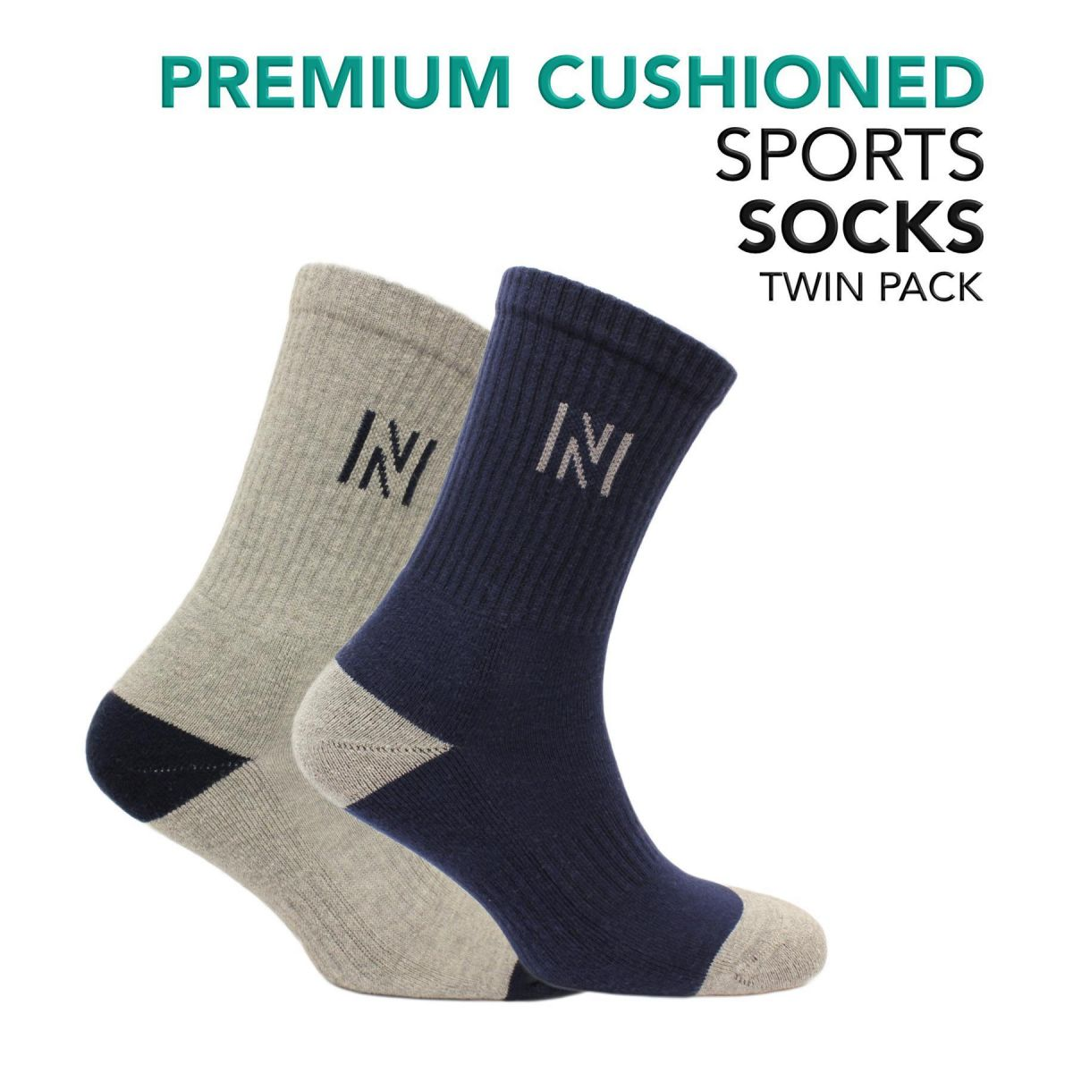 Cotton Sports Socks with Cushioning 2 Pair Pack - Barkley